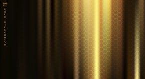 Guld- tyg med det släta vecket och veck markerar djupa skuggor på svart bakgrund med sexhörningsmodelltextur vektor royaltyfri illustrationer