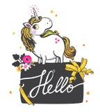 Guld- Unicorn Illustration stock illustrationer