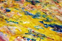 Guld- unik bakgrund för pastellfärgade rosa färger, blå suddig vaxartad abstrakt bakgrund, livlig bakgrund för vattenfärg, textur Royaltyfri Foto