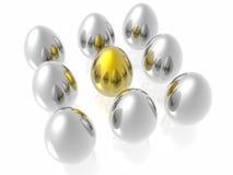 guld- unikt för ägg Arkivfoton