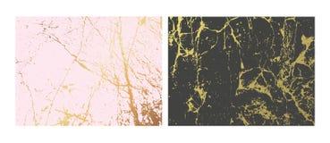 Guld- uppsättning för marmorefterföljdbakgrunder Den abstrakta räkningen med gammalt vaggar, stenar textur royaltyfri illustrationer