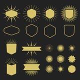 Guld- uppsättning av tomma designbeståndsdelar på svart bakgrund Royaltyfria Bilder
