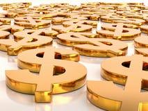 guld- USD valutasymboler för 3D Arkivfoton