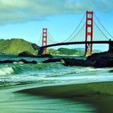Guld- utfärda utegångsförbud för överbryggar, San Francisco, United States Arkivbilder