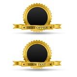 Guld- utmärkelseemblem royaltyfri illustrationer