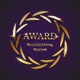 Guld- utmärkelsetecken med cirkellagerkransen som isoleras på purpurfärgad bakgrund också vektor för coreldrawillustration royaltyfri illustrationer