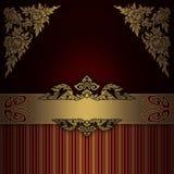 Guld- utsmyckad bakgrund med den eleganta gränsen Arkivfoto