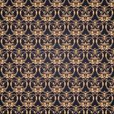Guld- utsmyckad damast bakgrund för vektor i östlig stil Sömlös abstrakt dekorativ elegant modell Royaltyfri Fotografi