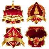 Guld- utsmyckade ramar för jul vektor illustrationer