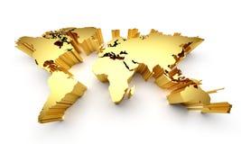Guld- världskarta Royaltyfri Illustrationer