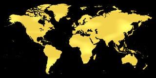 Guld- världskartalägenhetjord vektor illustrationer