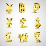 Guld- världsvaluta för värld 3d på vit bakgrund, vektor Stock Illustrationer