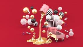 Guld- vätskemålarfärger som spouting från rosa kan bland de färgrika bollarna på den röda bakgrunden stock illustrationer