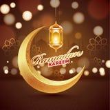 Guld- växande måne och hängande upplyst lykta på brun bokehsuddighetsbakgrund för Ramadan Kareem royaltyfri illustrationer