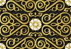 Guld V för spiral för modell för sömlös lättnadsskulpturgarnering retro royaltyfri illustrationer