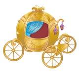 Guld- vagn för Cinderella Arkivfoto