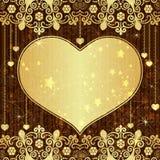 Guld- valentinram för tappning Royaltyfria Foton