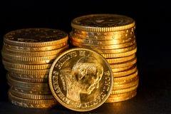 Guld- Vatican myntar. Arkivbild
