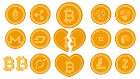 Guld- vektor delat bitcoinmynt Uppsättning av crypto valutalogomynt Begrepp för Cryptocurrency marknadsskrivning med stora bokstä Royaltyfria Foton
