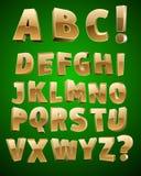guld- vektor för alfabet Arkivfoto