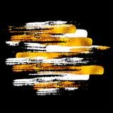 Guld- vektor målad formmodell, hand dragen vattenfärgborste Arkivbild
