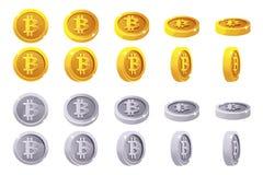 Guld- vektoranimeringrotation och mynt för silver 3D Bitcoin Digital eller faktisk elektronisk kassa för valutor och stock illustrationer