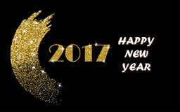 2017 guld- vektordesign för lyckligt nytt år med blänker slaglängdborsten på en svart bakgrund Guld- blänka affischen för det nya stock illustrationer