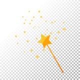 Guld- vektorillustration för trollspö och för stjärnor royaltyfri illustrationer