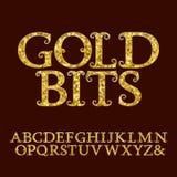 Guld- versalar incrusted små blänka fragment Arkivfoton