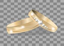 Guld- vigselringillustration för vektor, symboler, knapp, tecken, symbol, logo med klistermärken för familj, beröm, Royaltyfri Fotografi
