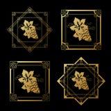 Guld- vinetiketter med druvor på svart bakgrund Fyrkant- och stjärnaramar på vinflaskan dekorativ kant Arkivbild