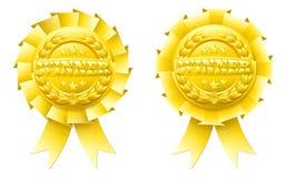 Guld- vinnarerosettes stock illustrationer