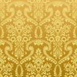 Guld- wallpaper för Seamless blom- tappning Royaltyfria Foton