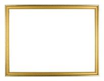 guld- wood bildram på vit bakgrund Royaltyfria Foton