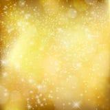 Guld- Xmas-bakgrund. Abstrakt vinterdesign med stjärnor och sn Royaltyfri Fotografi