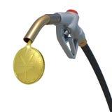 Guld- yenmynt som flödar från bränsledysa Fotografering för Bildbyråer