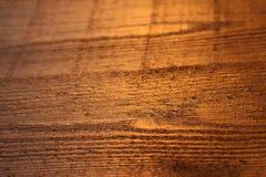 Guld- yttersida för trätextur som skiner rått ljus fotografering för bildbyråer