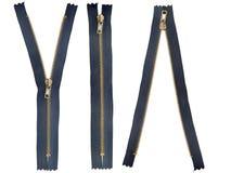 Guld- Zipper Royaltyfri Bild