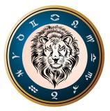 guld- zodiac för leo teckenhjul vektor illustrationer