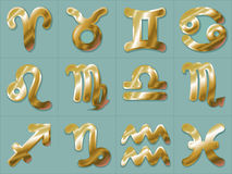 Guld- zodiak undertecknar Vattumannen och Fiskarna för Stenbocken för Skytten för den klistermärkeAries Taurus Gemini Cancer Leo  stock illustrationer