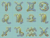 Guld- zodiak undertecknar Vattumannen och Fiskarna för Stenbocken för Skytten för den klistermärkeAries Taurus Gemini Cancer Leo  royaltyfri illustrationer