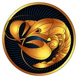 Guld- zodiaktecken för cancer, vektorhoroskopsymbol vektor illustrationer