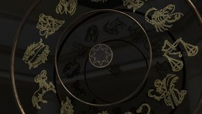 Guld- zodiaktecken inom ett hjul av förmögenhet lager videofilmer