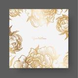 Guldblommor och sidor av pioner Utsmyckad dekor för inbjudningar som gifta sig hälsningkort, certifikat, etiketter stock illustrationer