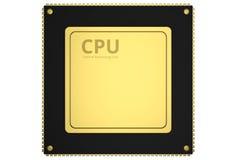 GuldCPU-chip Royaltyfri Bild