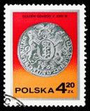 Gulden för konungen Augustus III, Gdansk, det 18th århundradet, försilvrar myntserie, circa 1977 stock illustrationer