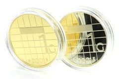 1 Guldengoud en sivler muntstuk Royalty-vrije Stock Foto's