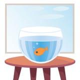 Guldfisk i akvarium på tabellen stock illustrationer