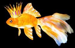 Guldfisk med en krona stock illustrationer