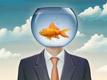 Guldfisk och affärsman royaltyfri illustrationer